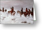 Native American Greeting Cards - Lost in a Snow Storm - We Are Friends Greeting Card by Charles Marion Russell