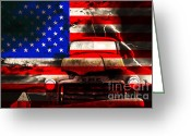 Old Trucks  Greeting Cards - Lost In America Greeting Card by Wingsdomain Art and Photography