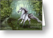 Gallop Greeting Cards - Lost in the forest  Greeting Card by Kate Black