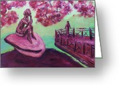 Lost In Thought Painting Greeting Cards - Lost in Thought Green Pink Magenta Purple with cherry blossom tree bridge Mountain Rock after Hiking Greeting Card by MendyZ M Zimmerman