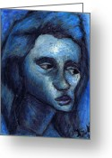 Blue Art Pastels Greeting Cards - Lost Greeting Card by Kamil Swiatek
