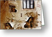 Triangle Greeting Cards - Lost memories behind my longing window Greeting Card by Franziskus Pfleghart