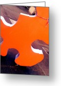 Size Different Greeting Cards - Lost Puzzle Piece Greeting Card by Kevin D Davis