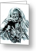 Old Lady Greeting Cards - Lost Greeting Card by Ramneek Narang