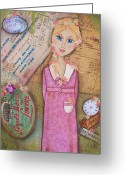 Collage On Wood Greeting Cards - Lost Time Greeting Card by Kathy Cameron