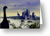 Dinosaurs Digital Art Greeting Cards - Lost World Greeting Card by Anastasiya Malakhova