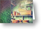 Shed Photo Greeting Cards - Lots of different size pots in the shed Greeting Card by Sandra Cunningham