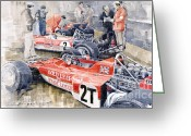 Motor Greeting Cards - Lotus 49 B Lotus 72  Greeting Card by Yuriy  Shevchuk