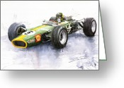 Sport Painting Greeting Cards - Lotus 49 Ford F1 Jim Clark Greeting Card by Yuriy  Shevchuk
