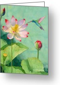 Japanese Greeting Cards - Lotus And Hummingbird Greeting Card by Robert Hooper