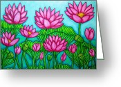 Sytlized Greeting Cards - Lotus Bliss II Greeting Card by Lisa  Lorenz