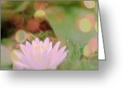 Warm Looking Flower Greeting Cards - Lotus Bubbles Greeting Card by Debra     Vatalaro
