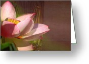 Layered Textures Greeting Cards - Lotus Flower by a Vase Greeting Card by Mark Richards