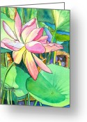 Tropical Island Greeting Cards - Lotus Flower Greeting Card by Marionette Taboniar