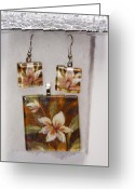 Gift Jewelry Greeting Cards - Lotus flower pendant and earring set Greeting Card by Darleen Stry