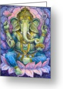 Buddha Art Greeting Cards - Lotus Ganesha Greeting Card by Sue Halstenberg