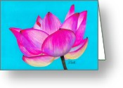 Yellow Drawings Greeting Cards - Lotus  Greeting Card by Laura Bell