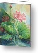 Hawaiian Pond Greeting Cards - Lotus of Hamakua Greeting Card by Wendy Wiese
