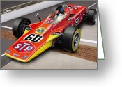 Checkered Greeting Cards - Lotus STP Indy Turbine Greeting Card by David Kyte