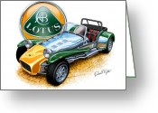 Sports Car Greeting Cards - Lotus Super Seven sports car Greeting Card by David Kyte