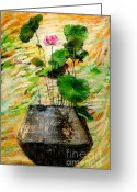 Lotus Bud Greeting Cards - Lotus Tree In Big Jar Greeting Card by Atiketta Sangasaeng