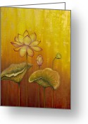 Lotus Bud Greeting Cards - Lotus Greeting Card by Yuliya Glavnaya