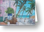Florida House Greeting Cards - Louies Backyard Greeting Card by Linda Cabrera