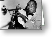 Watch Greeting Cards - Louis Armstrong 1900-1971 Greeting Card by Granger
