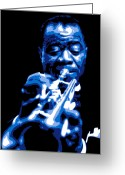 Big Band Greeting Cards - Louis Armstrong Greeting Card by Dean Caminiti