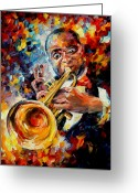 Oil Greeting Cards - Louis Armstrong Greeting Card by Leonid Afremov