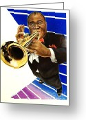 Given Greeting Cards - Louis Armstrong Greeting Card by Marsha Heiken