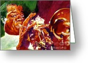 Big Band Greeting Cards - Louis Armstrong Pops Greeting Card by David Lloyd Glover