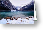 Canadian Rockies Greeting Cards - Louise Ice Greeting Card by Andrea Hazel Ihlefeld