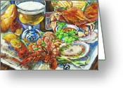 Dining Greeting Cards - Louisiana 4 Seasons Greeting Card by Dianne Parks