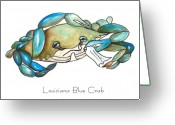 Blue Crab Greeting Cards - Louisiana Blue Crab Greeting Card by Elaine Hodges