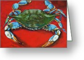 Blue Crab Greeting Cards - Louisiana Blue on Red Greeting Card by Dianne Parks