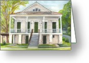 Louisiana Greeting Cards - Louisiana Historic District Home Greeting Card by Elaine Hodges