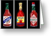 Spice Painting Greeting Cards - Louisiana Hot Sauce Bottles Black Greeting Card by Elaine Hodges