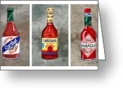 Spice Painting Greeting Cards - Louisiana Hot Sauce Bottles Greeting Card by Elaine Hodges