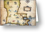 Maps Greeting Cards - Louisiana Map Greeting Card by Judy Merrell