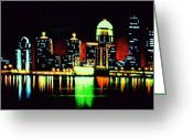 Skylines Painting Greeting Cards - Louisville in black light Greeting Card by Thomas Kolendra