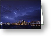 "\""lightning Strike\\\"" Greeting Cards - Louisville Storm - D001917b Greeting Card by Daniel Dempster"