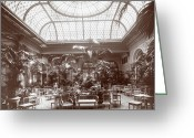 Silver Gelatin Greeting Cards - Lounge at the Plaza Hotel Greeting Card by Henry Janeway Hardenbergh