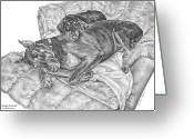 Dobermann Greeting Cards - Lounge Lizards - Doberman Pinscher Dog Art Print Greeting Card by Kelli Swan
