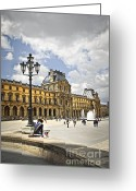 Historic Landmark Greeting Cards - Louvre museum Greeting Card by Elena Elisseeva