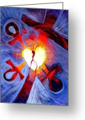 Jesus Art Painting Greeting Cards - Love - In Three ... for All Greeting Card by J Vincent Scarpace