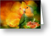 Orange And Green Greeting Cards - Love Among The Hibiscus Greeting Card by Carol Cavalaris