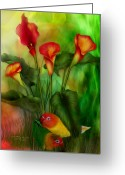 Romantic Art Greeting Cards - Love Among The Lilies  Greeting Card by Carol Cavalaris