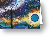 Abstract Contemporary Art Greeting Cards - Love and Laughter by MADART Greeting Card by Megan Duncanson