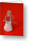 Heart-shape Greeting Cards - Love Angel Greeting Card by Evelina Kremsdorf